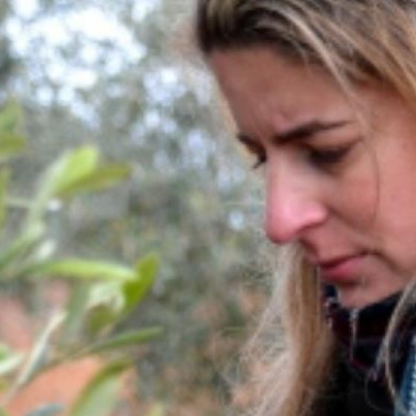 Fotografía de Marina observando los olivos, en Badajoz— CEDIDA