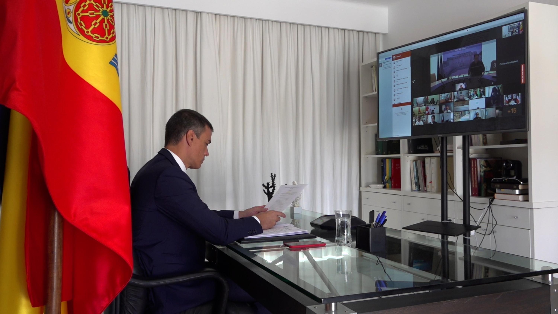 Sánchez participa en la videconferencia internacional de apoyo al Líbano