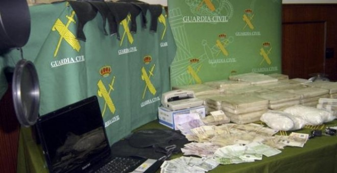 Un alijo de droga incautado por la Guardia Civil.