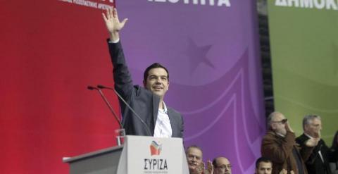 Tsipras, en un acto de Syriza en Atenas este sábado. EFE