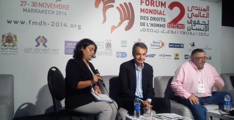 Zapatero, durante el Foro Mundial de Derechos Humanos de Marrakech.