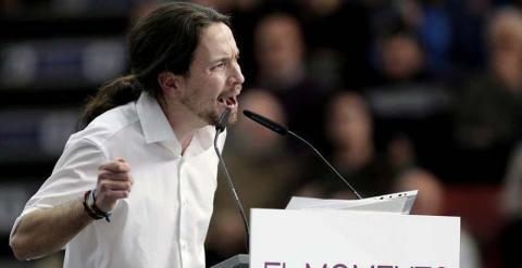 - El secretario general y eurodiputado de Podemos, Pablo Iglesias, durante su intervención en el acto público en Valencia. / EFE