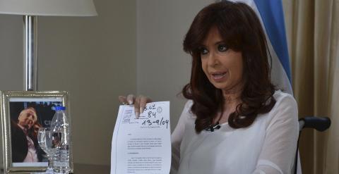 Cristina Fernández durante su intervención en televisión. / REUTERS