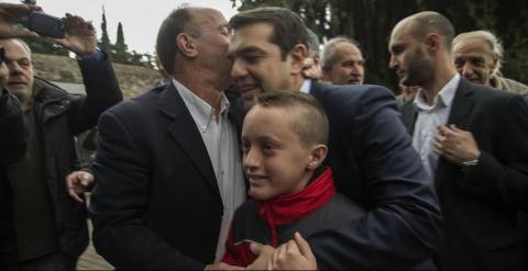 Tsipras, durante el homenaje a los caídos por el nazismo. CLEMENTE BERNAD