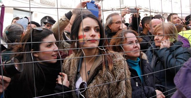 Miles de personas se concentran en la Puerta del Sol, convocadas por Podemos a la Marcha del Cambio. -JAIRO VARGAS