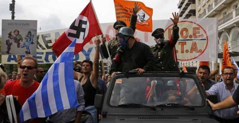 Protesta en Atenas contra la visita de Angela Merkel a Grecia en octubre de 2012. - REUTERS