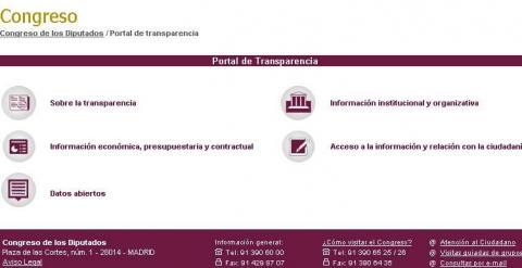Captura del portal de transparencia del Congreso de los Diputados./ Público
