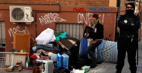 Un desahucio este mismo febrero en Madrid. EFE