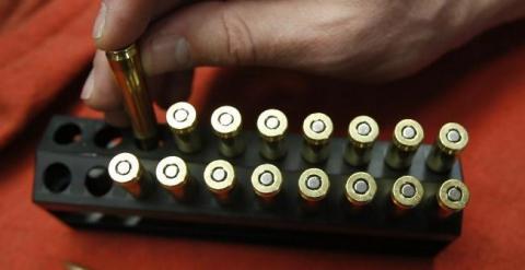 Cartuchos del calibre 5,56, la munición estándar de la OTAN. GEORGE FREY / AFP
