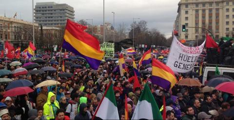 Concentración en la madrileña Plaza de Colón de las Marchas de la Dignidad. C.G.M.