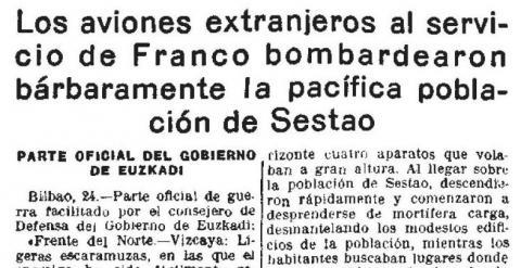 Recorte de un periódico de la época en el que se recoge la noticia del bombardeo franquista sobre Sestao.