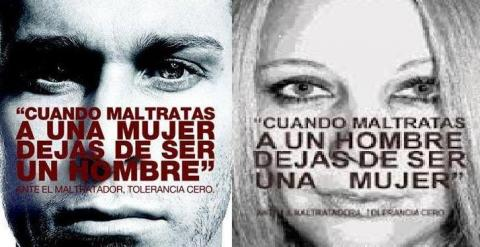 A la izquierda, el cartel oficial del extinto Ministerio de Igualdad. A la derecha, el cartel manipulado.