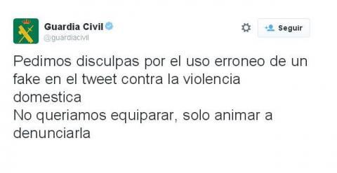 Tuit de la Guardia Civil pidiendo disculpas por equiparar la violencia de género a la residual violencia de mujeres contra hombres.