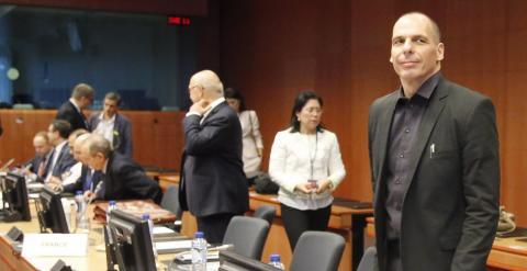 Varoufakis, en un momento de la reunión del Eurogrupo del pasado sábado 27. EFE