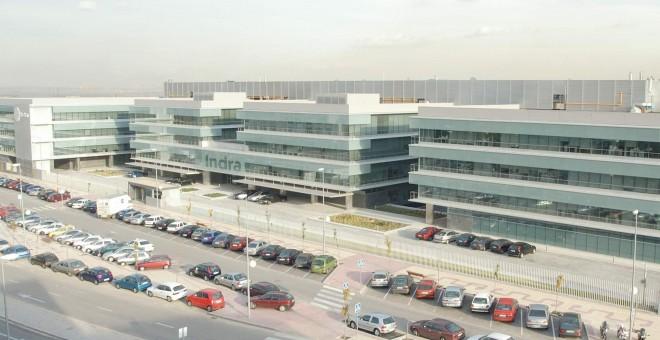 Vista general de las oficinas centrales de Indra en Alcobendas, Madrid.