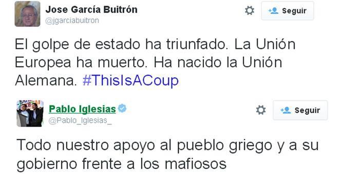 Capturas de dos tuits del médico José García Buitrón y del líder de Podemos, Pablo Iglesias, sobre el tercer rescate griego.