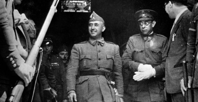 El dictador Franco junto al general Mola.