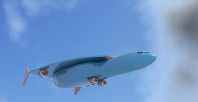 El diseño del avión patentado por Airbus./ YouTube - PatentYogi