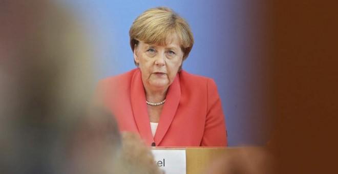La canciller alemana, Angela Merkel, este lunes en Berlín. / WOLFGANG KUMM (EFE)