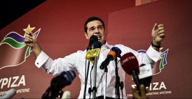 Alexis Tsipras, durante su primer discurso tras ganar las elecciones. - AFP