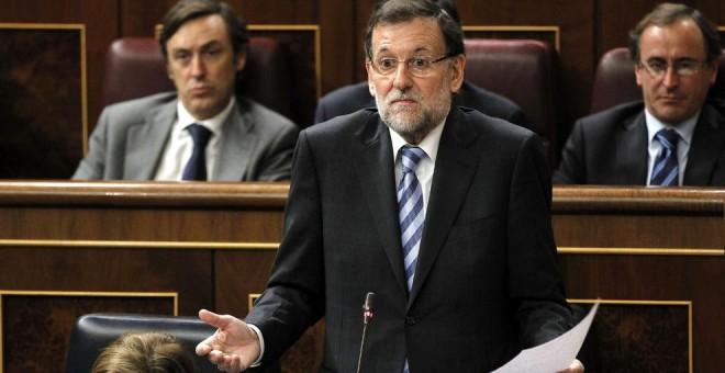 El presidente del Gobierno, Mariano Rajoy, durante una sesión de control en el Congreso.- EFE