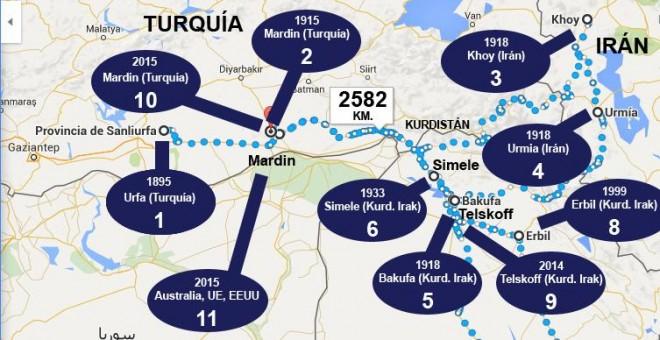 mapa asirios cristianos