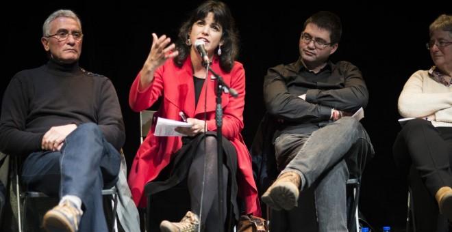Diego Cañamero, Teresa Rodriguez, Carlos Sánchez Mato y Montserrat Galcerán durante el acto por el segundo aniversario de Podemos. SANDRA BLANCO