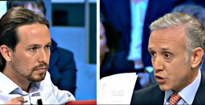 Pablo Iglesias y Eduardo Inda en el programa