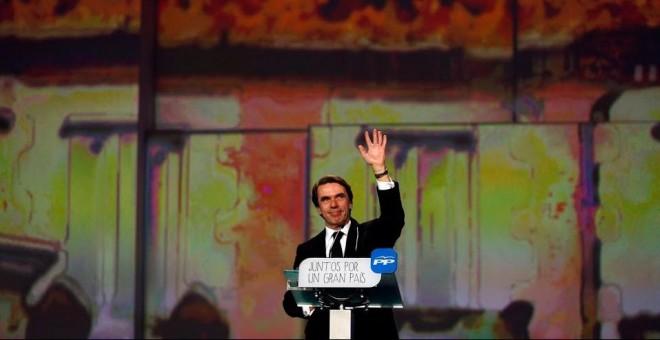 José María Aznar interviene en el Congreso del PP de enero de 2015. REUTERS