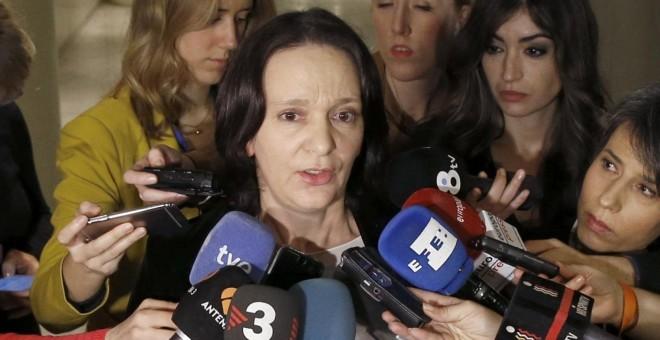 La 'número tres' de Podemos, Carolina Bescansa, durante las declaraciones que ha realizado en el Congreso. EFE/J. J. Guillén