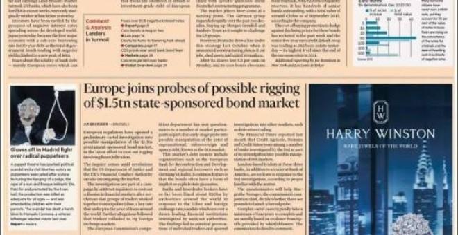 Portada de este miércoles del 'Financial Times'
