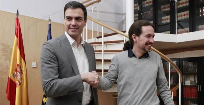 El secretario general de Podemos, Pablo Iglesias, y el líder del PSOE, Pedro Sánchez. EUROPA PRESS