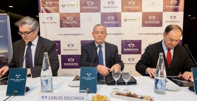 El exministro Carlos Solchaga en el desayuno de Navarra Capital. E.P.