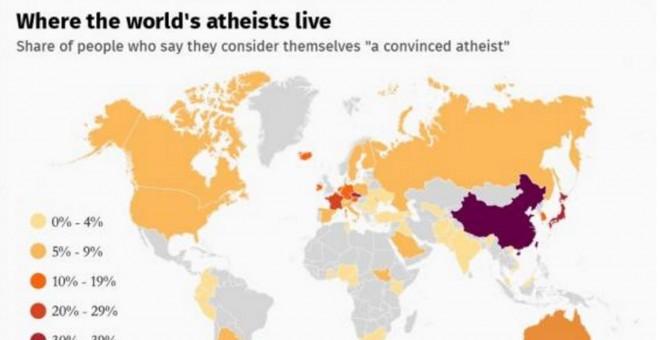 Mapa, según el estudio, de las regiones del mundo con más ateos convencidos.- THE INDEPENDENT