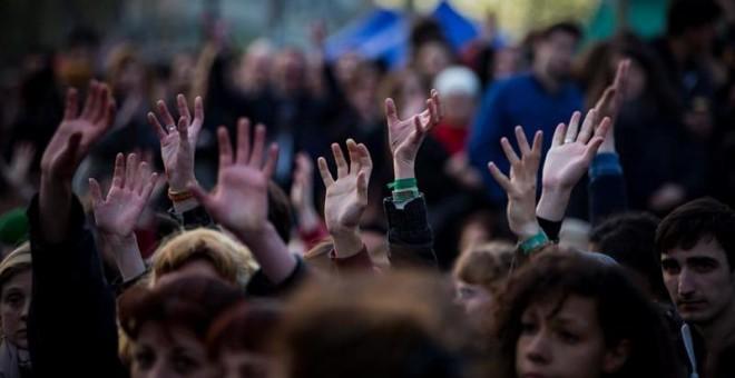 Asamblea general de la 'Nuit Debout' del pasado jueves. - EFE