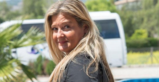 La abogada de Manos Limpias, Virginia López Negrete, a su salida de la Escuela Balear de Administración Pública, donde se celebra el juicio por el caso Nóos. EFE/CATI CLADERA