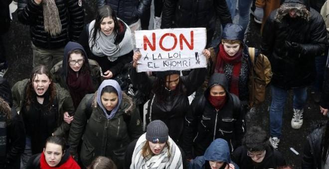 Un momento de una de las manifestaciones contra la reforma laboral en París. - AFP