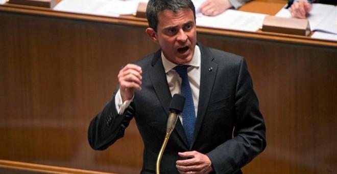 El primer ministro francés, Manuel Valls, durante una sesión en la Asamblea Nacional. - EFE