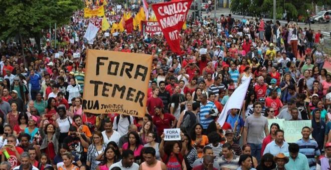 Manifestación en Sao Paulo en contra del Gobierno interino de Michel Temer. - EFE