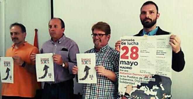 Los representantes de las Marchas de la Dignidad Jorge Fernández, Leopoldo Pelayo, Ginés Fernandez y Tom Kucharz.