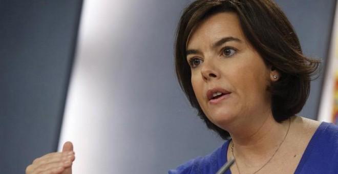 La vicepresidenta del Gobierno durante la rueda de prensa posterior al Consejo de ministros. / EFE