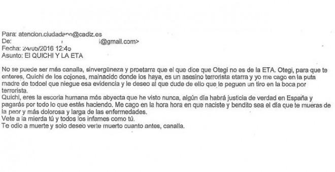 Mensaje amenazante recibido por el alcalde de Cádiz, José María González, Kichi.