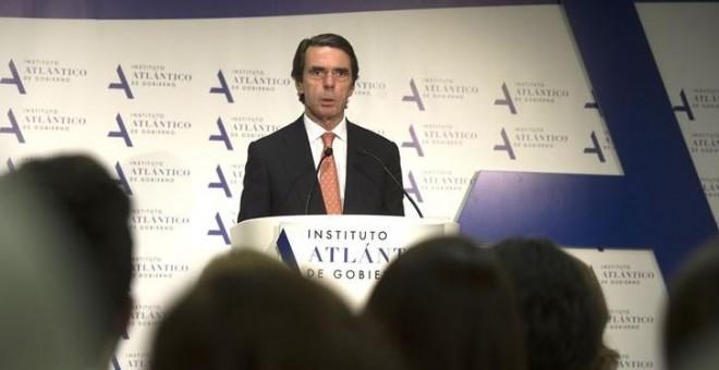 José María Aznar durante su intervención en el Instituto Atlántico.- EUROPA PRESS