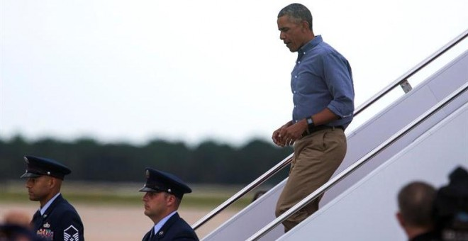 Obama llega a Maryland este domingo. EFE/EPA/JIM LO SCALZO