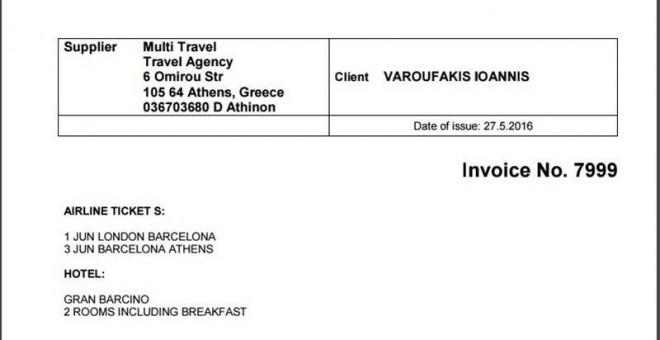 varoufakis muestra una factura para demostrar que él se pago el