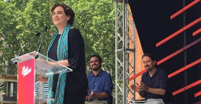 La alcaldesa de Barcelona, Ada Colau, abre el acto de campaña de En Comú Podem.