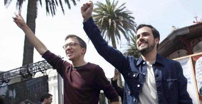 Iñigo Errejón y Alberto Garzón, en el acto de campaña de Unidos Podemos de este domingo en A Coruña. EFE