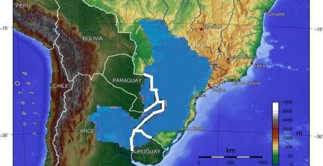 Ubicación del Acuífero Guaraní. Wikipedia