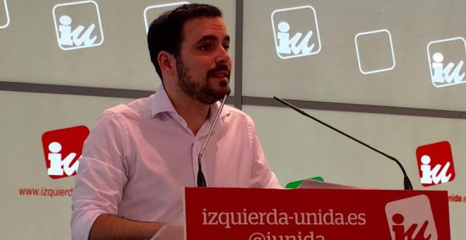 Alberto Garzón durante su intervención ante  la primera Asamblea Político y Social de IU. (Twitter de IU)
