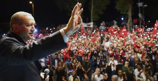 El presidente de Turquía, Tayyip Erdogan, en un acto celebrado anoche en Estambul. - EFE